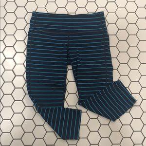 Athleta Navy and Blue Striped Capri leggings